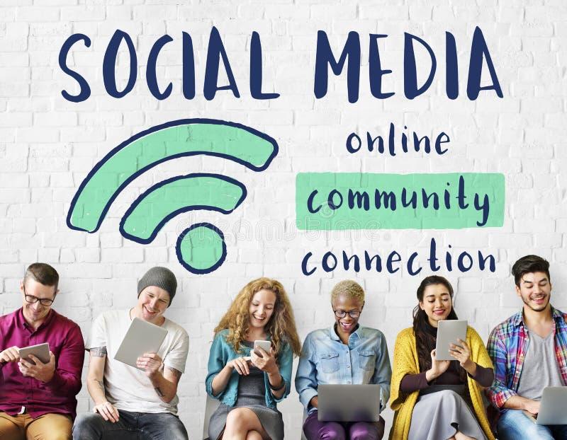 La connexion de communication de mise en réseau partagent le concept d'idées photo libre de droits