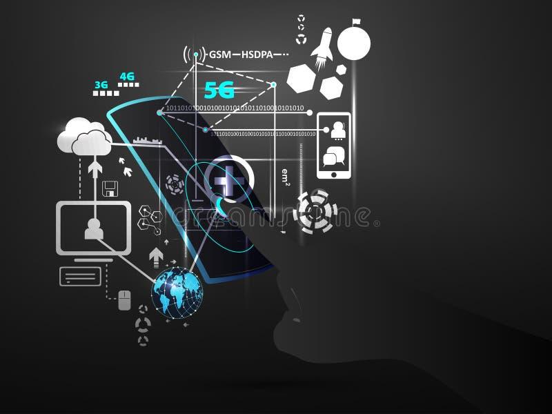 La connexion réseau de technologie raye des données avec vecteur de concept de téléphone portable d'écran tactile de main le futu illustration libre de droits