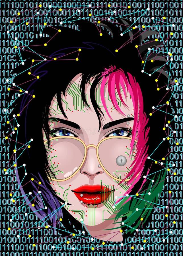 La conoscenza è ritratto elettrico di un'arte grafica strana di vettore della ragazza del geek illustrazione vettoriale