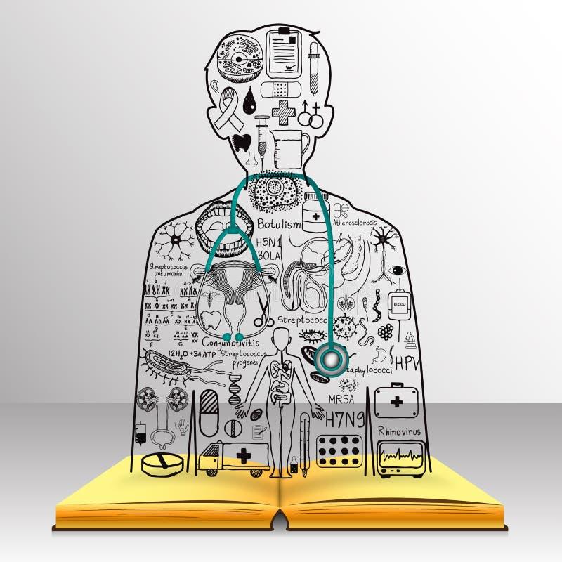 La conoscenza dal libro sta bene ad un medico Gli scarabocchi medici in un medico modellano con lo stetoscopio 3d Studi della med royalty illustrazione gratis