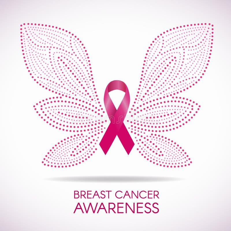 La consapevolezza del cancro al seno con la linea segno della farfalla ed illustrazione rosa del punto di vettore del nastro prog illustrazione di stock