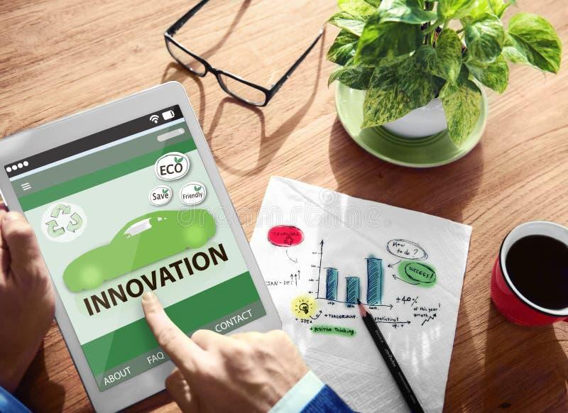 La conservazione ambientale dell'innovazione dell'ecologia va invenzione verde immagine stock