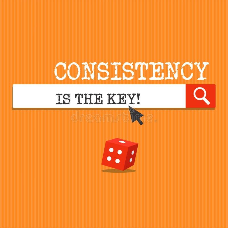 La consistencia de la escritura del texto de la escritura es la llave Concepto que significa el esmero completo a una tarea un há ilustración del vector