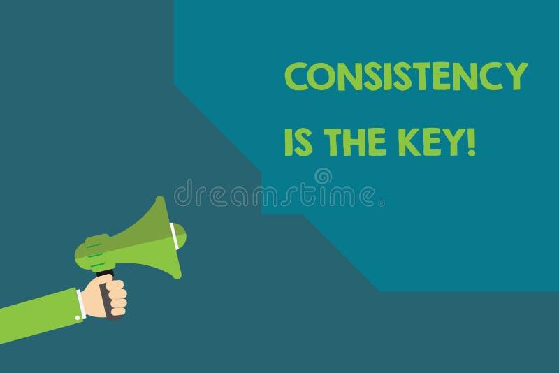 La consistencia del texto de la escritura es la llave Concepto que significa el esmero completo a una tarea un hábito que forma p ilustración del vector