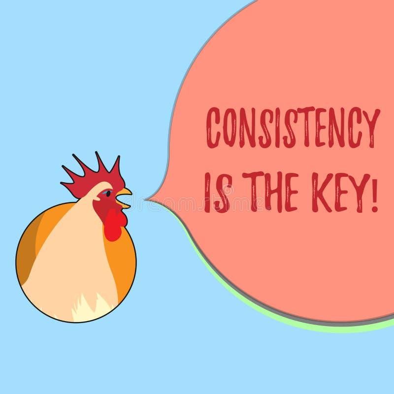 La consistencia del texto de la escritura de la palabra es la llave Concepto del negocio para el esmero completo a una tarea un h stock de ilustración