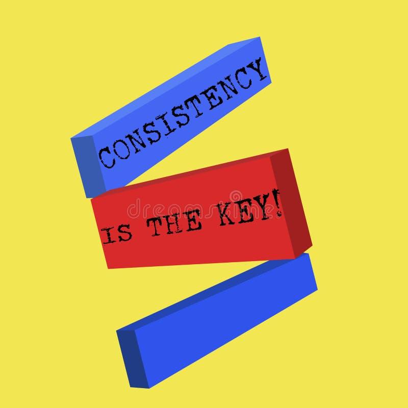La consistencia del texto de la escritura de la palabra es la llave Concepto del negocio para el esmero completo a una tarea un h ilustración del vector