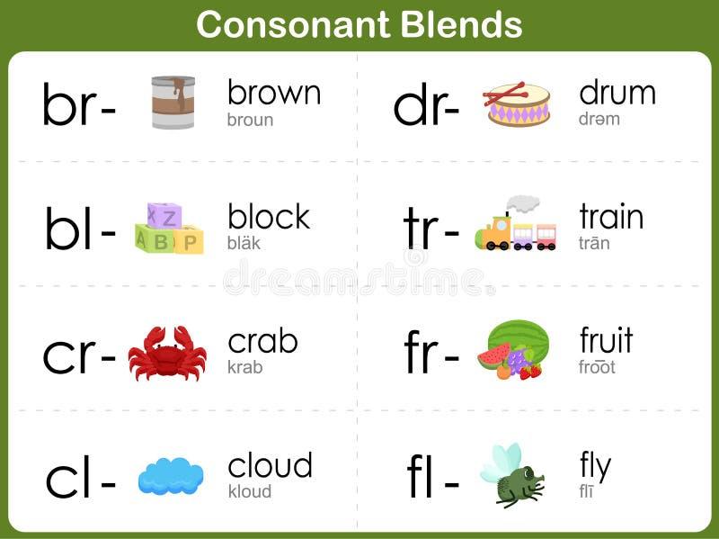 La consonante mescola il foglio di lavoro per i bambini illustrazione di stock
