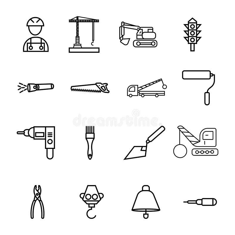 La construcción canta el sistema del icono del vector del símbolo libre illustration