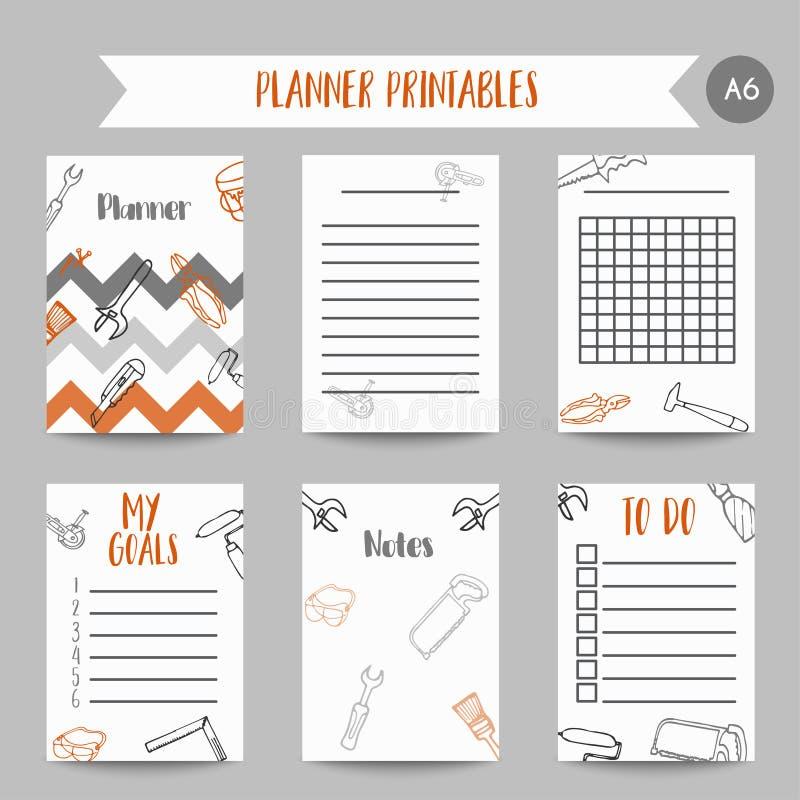 La construcción de las mejoras para el hogar del planificador del negocio equipa notas dibujadas mano Printables para los hombres ilustración del vector