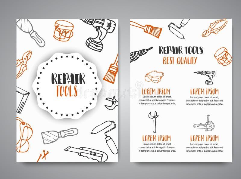 La construcción de las mejoras para el hogar equipa el folleto dibujado mano Bandera del negocio, anuncio libre illustration