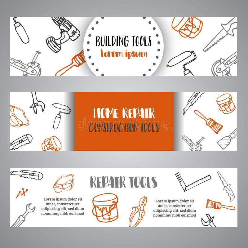 La construcción de las mejoras para el hogar equipa el folleto dibujado mano Bandera del negocio, anuncio stock de ilustración