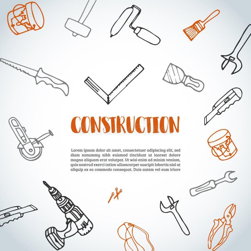 La construcción de las mejoras para el hogar equipa el fondo dibujado mano con el marco redondo libre illustration