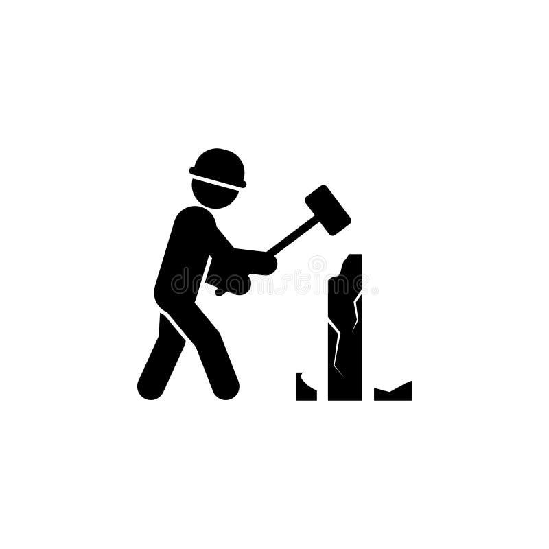 la construcción, demuele el icono del trabajador Elemento del trabajador de construcción para los apps móviles del concepto y del ilustración del vector