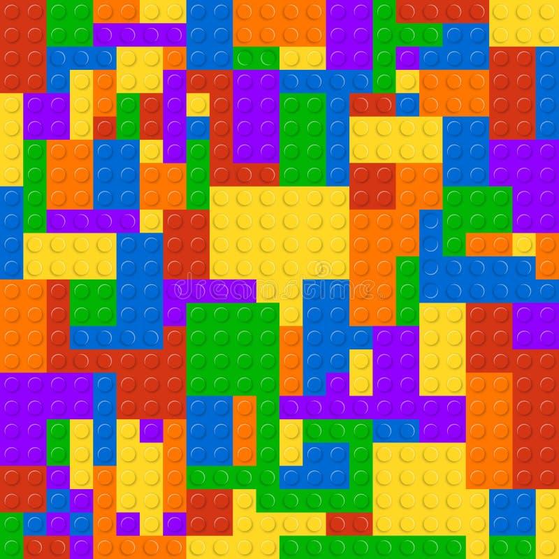La construcción plástica bloquea el fondo inconsútil del modelo Juguete colorido de la construcción del ladrillo del juego del ej ilustración del vector