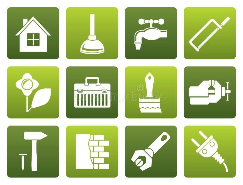 La construcción plana y lo hace usted mismo los iconos stock de ilustración