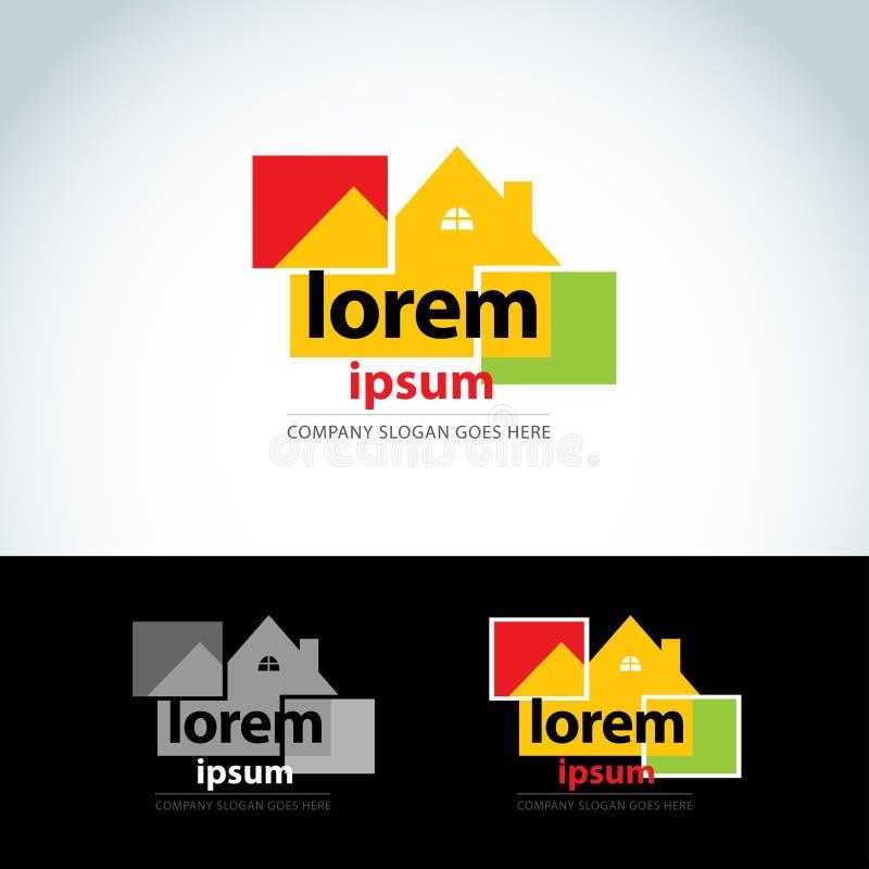 La construcción se dirige la plantilla del logotipo Logotipo del constructor Icono abstracto de la casa Formato del vector stock de ilustración