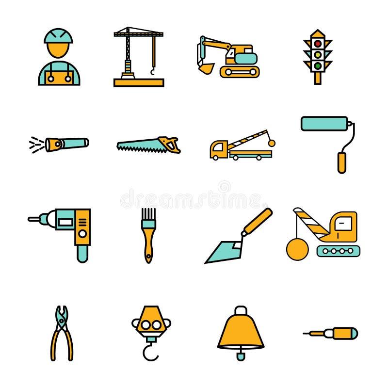 La construcci?n canta el sistema del icono del vector del s?mbolo stock de ilustración