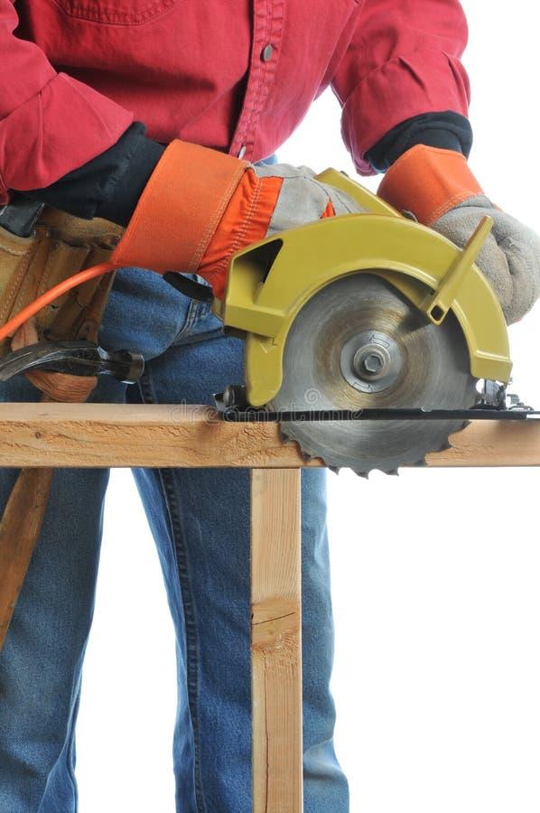 la construction circulaire a vu l'ouvrier image libre de droits