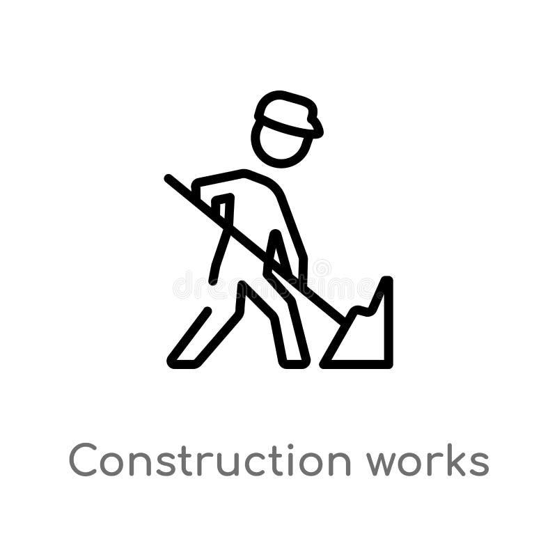 la construction d'ensemble travail l'icône de vecteur ligne simple noire d'isolement illustration d'élément de concept de constru illustration de vecteur