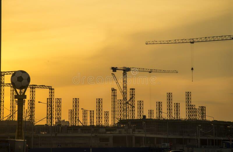 La construction d'un stade de football 2018 photographie stock