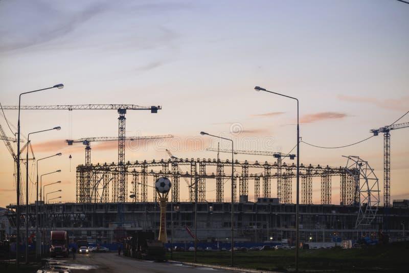 La construction d'un stade de football 2018 images libres de droits