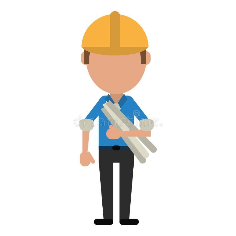 La construction de bâtiments d'homme prévoit le casque illustration de vecteur