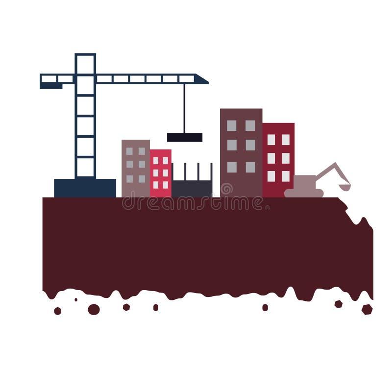 La construction de ville par la grue et excovator avec les bâtiments et la terre élevés illustration de vecteur
