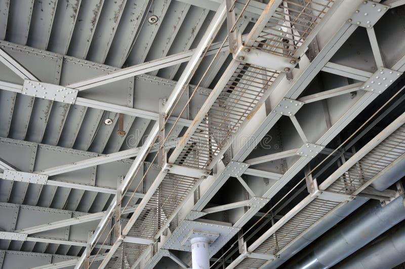 La construction en acier de pont à poutres, jonction à rivets Texture photo libre de droits