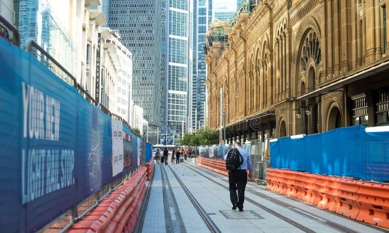 La construction ferroviaire du côté de bâtiment de la Reine Victoria est f ouvert image stock