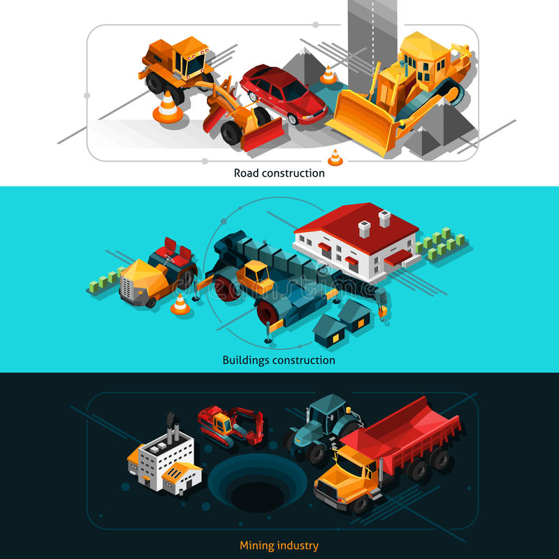 La construction isométrique usine des bannières illustration de vecteur