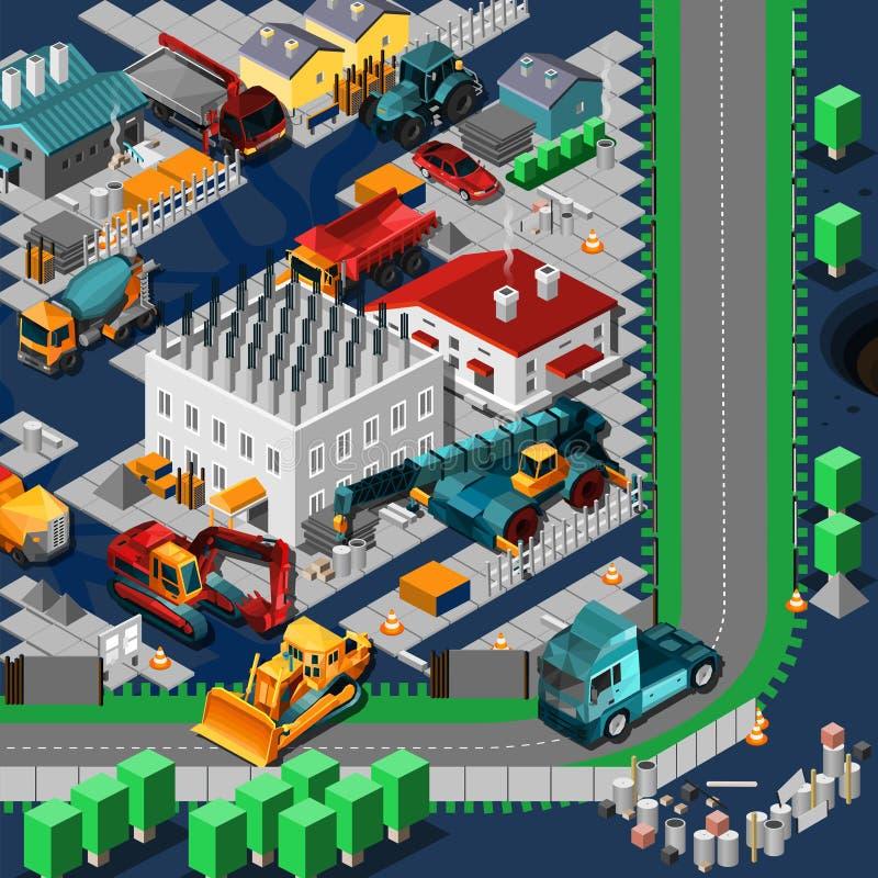 La construction isométrique usine le concept illustration stock