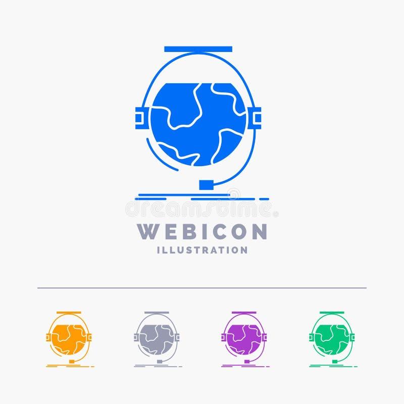 la consultation, l'éducation, en ligne, e apprenant, soutiennent le calibre d'icône de Web de Glyph de 5 couleurs d'isolement sur illustration stock