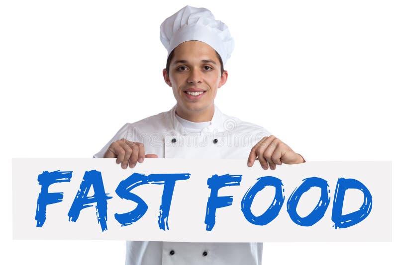 La consumición malsana de los alimentos de preparación rápida come cocinar del cocinero aislado foto de archivo
