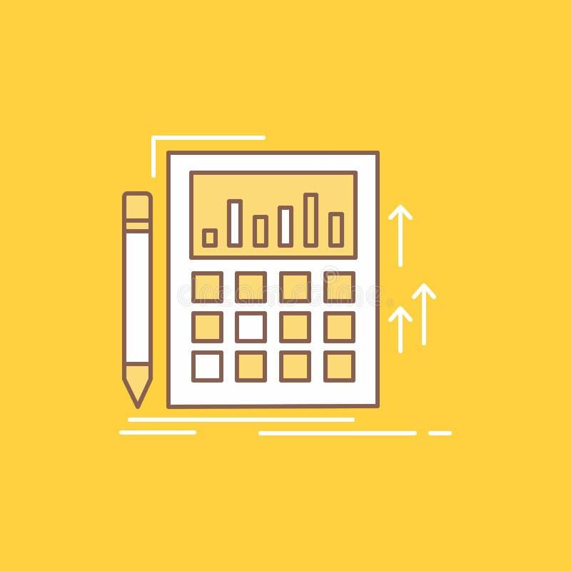 La contabilidad, auditoría, actividades bancarias, cálculo, línea plana de la calculadora llenó el icono Bot?n hermoso del logoti stock de ilustración
