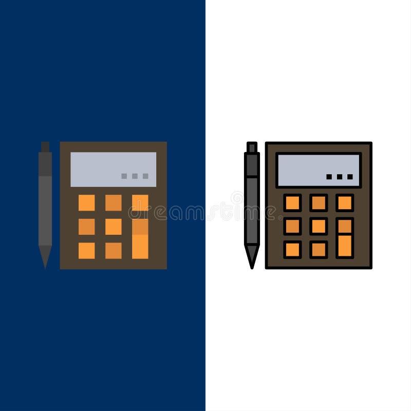 La contabilidad, cuenta, calcula, cálculo, calculadora, financiera, iconos de la matemáticas Plano y línea azul llenado del vecto libre illustration