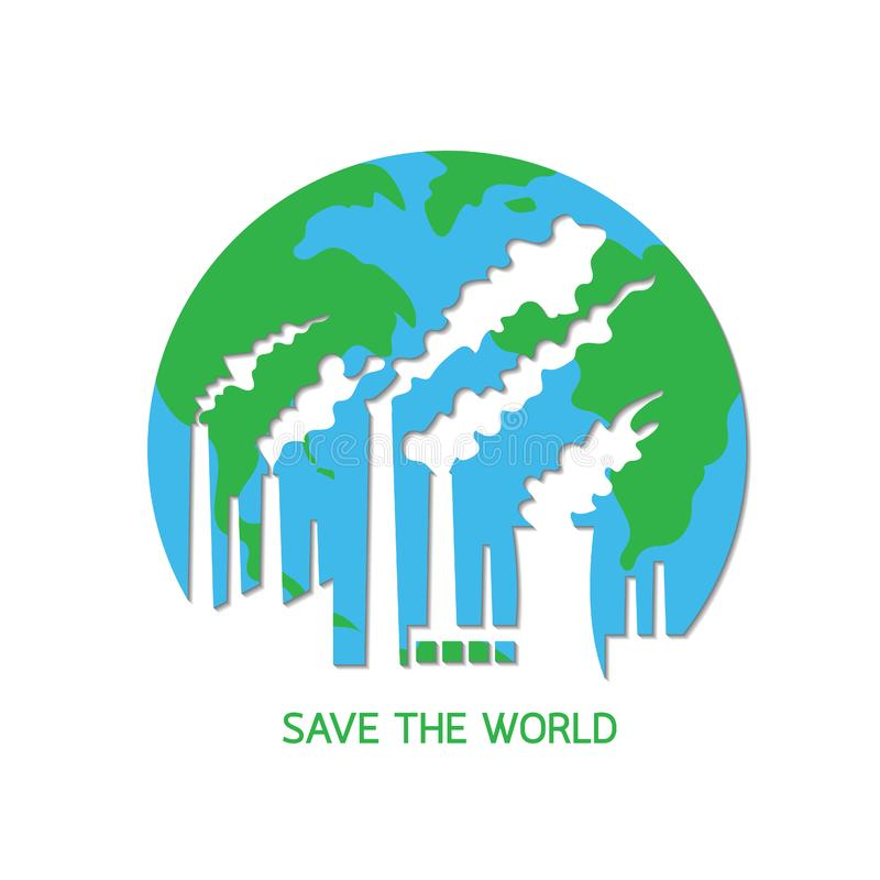 La contaminación destruye la tierra del planeta ilustración del vector