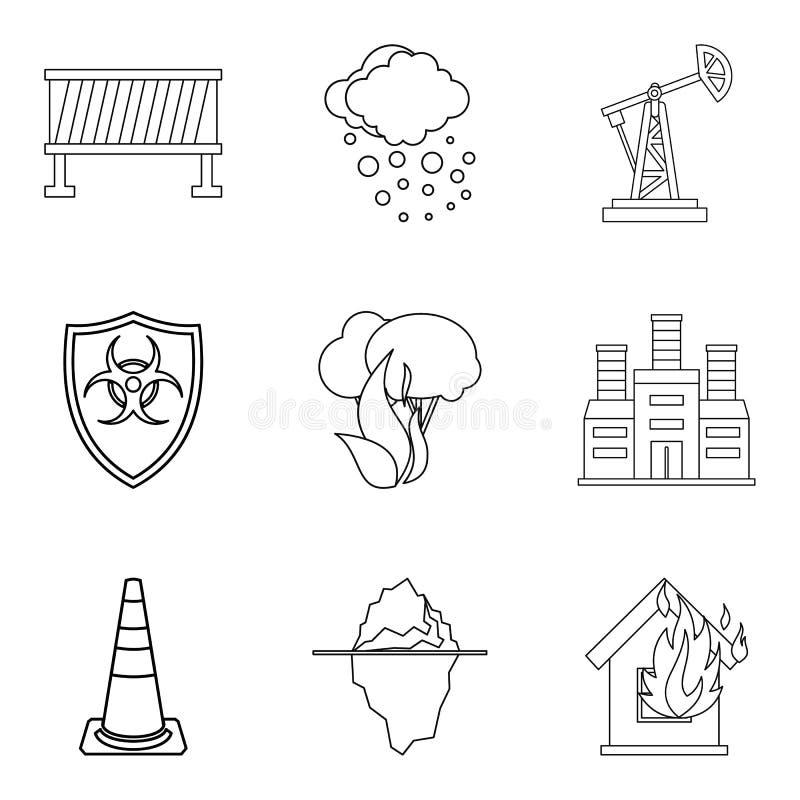 La contamination des icônes du monde a placé, décrit le style illustration de vecteur