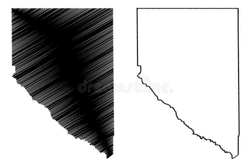 La contea di Hudspeth, Texas Counties nel Texas, Stati Uniti d'America, U.S.A., U S , Illustrazione di vettore della mappa degli  royalty illustrazione gratis