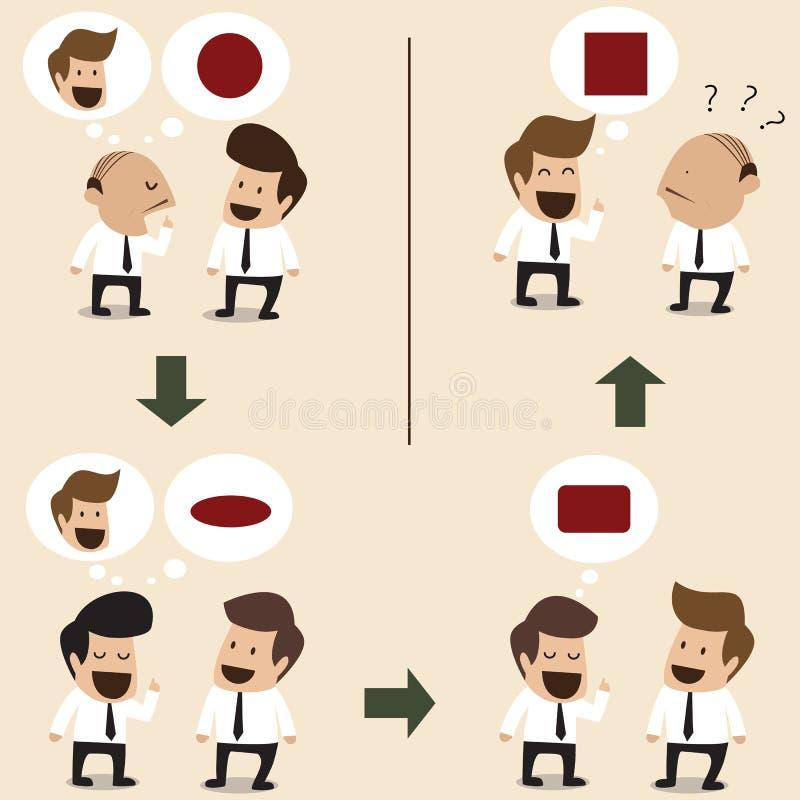 La conversación indirecta hace resultado incorrecto ilustración del vector