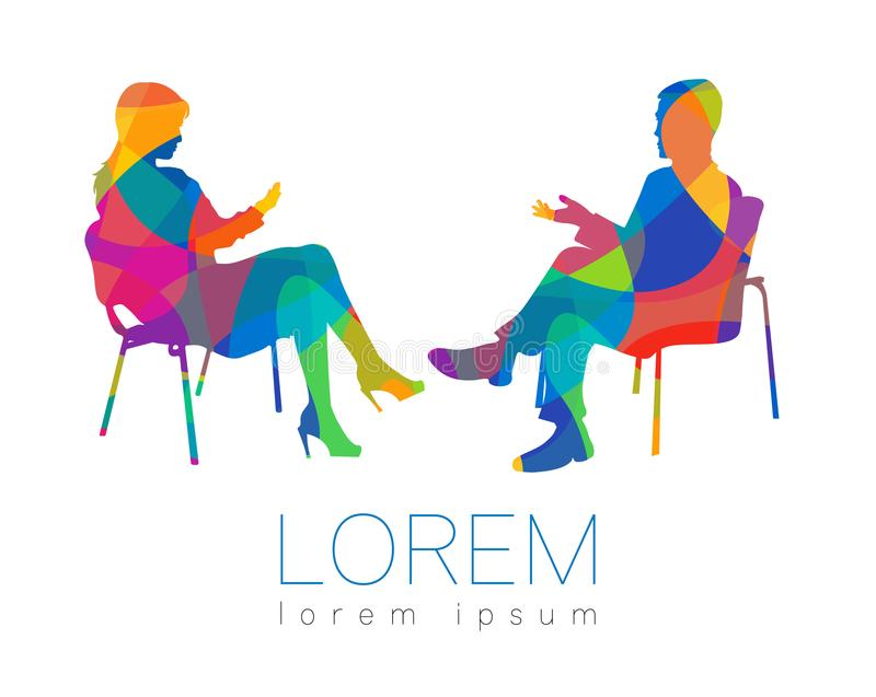 La conversazione della gente Sessione di psicoterapia o di consiglio Donna dell'uomo che parla mentre sedendosi Profilo della sil royalty illustrazione gratis