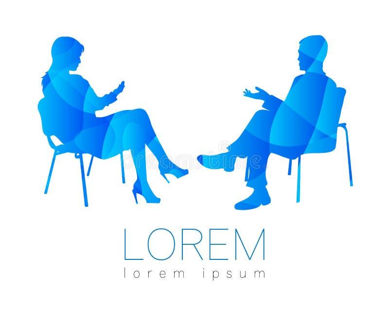 La conversazione della gente Sessione di psicoterapia o di consiglio Donna dell'uomo che parla mentre sedendosi Profilo della sil illustrazione vettoriale