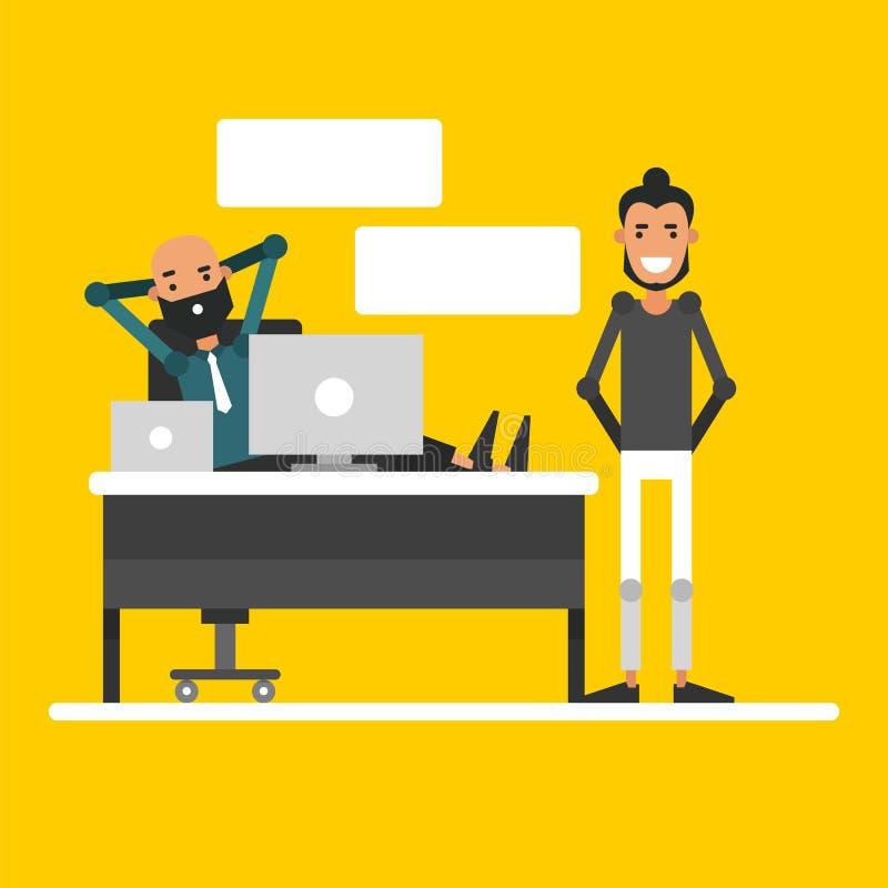 La conversazione di due uomini d'affari nel posto di lavoro fumetto ch illustrazione vettoriale