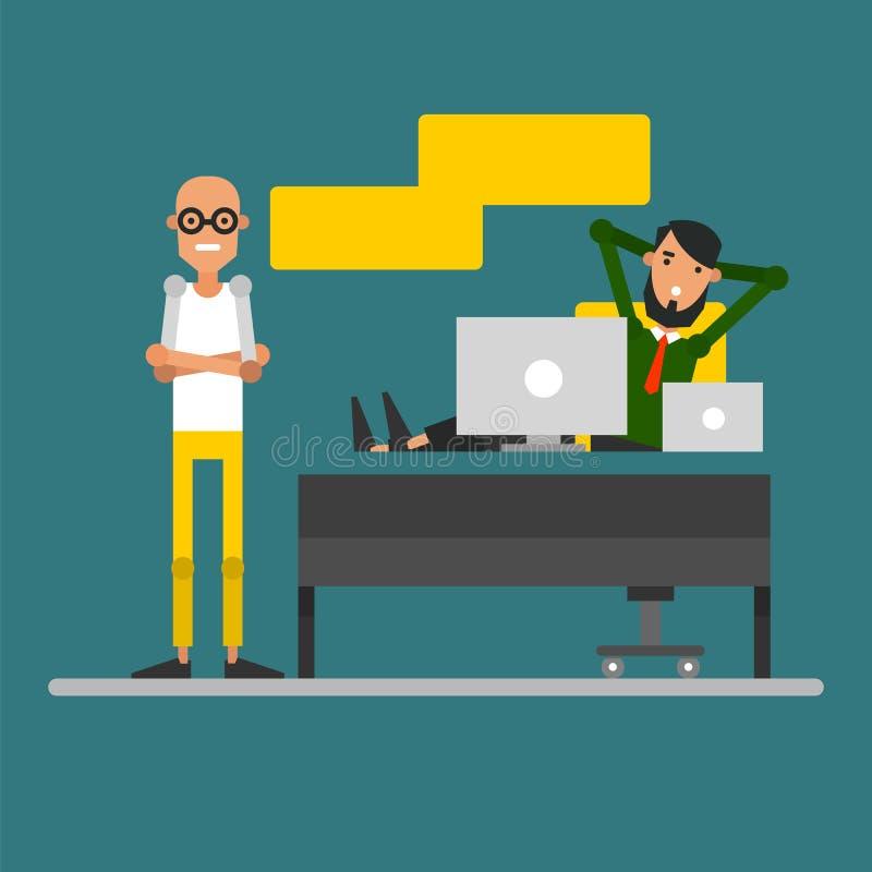 La conversazione di due uomini d'affari nel posto di lavoro Riunione Ca illustrazione vettoriale