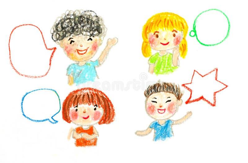 La conversazione e le bolle dei bambini, lubrificano l'illustrazione del disegno pastello illustrazione vettoriale