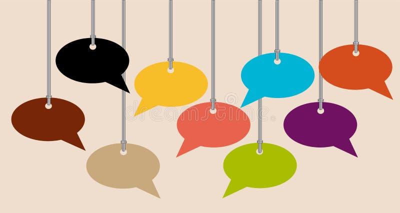 La conversazione vuota bolle su una corda con fondo leggero royalty illustrazione gratis