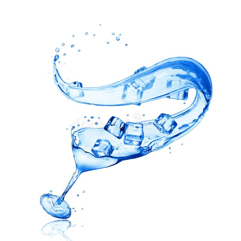 La copa hecha del agua salpica con los cubos de hielo libre illustration