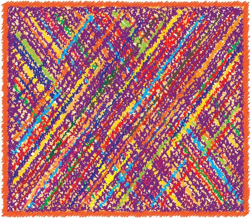La coperta rettangolare del tessuto con il lerciume diagonale variopinto ha barrato il modello a quadretti e la frangia royalty illustrazione gratis
