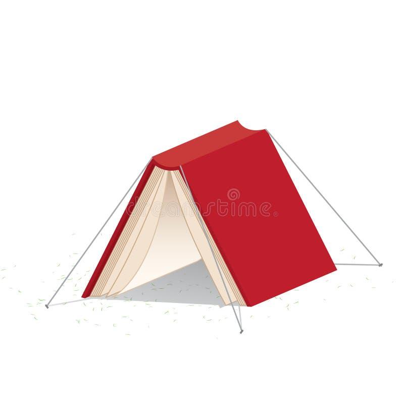 La copertina di libro rossa su fondo bianco che assomiglia ad una tenda si riferisce royalty illustrazione gratis