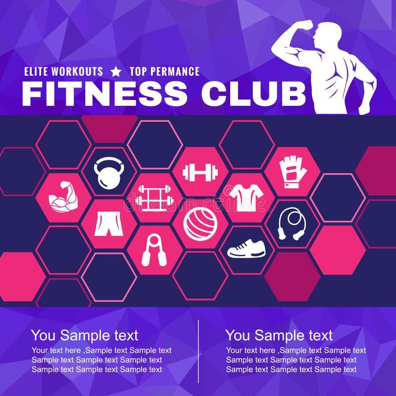 La copertura del club di forma fisica è uomini accessori dell'icona con i muscoli ed il poli fondo basso illustrazione vettoriale