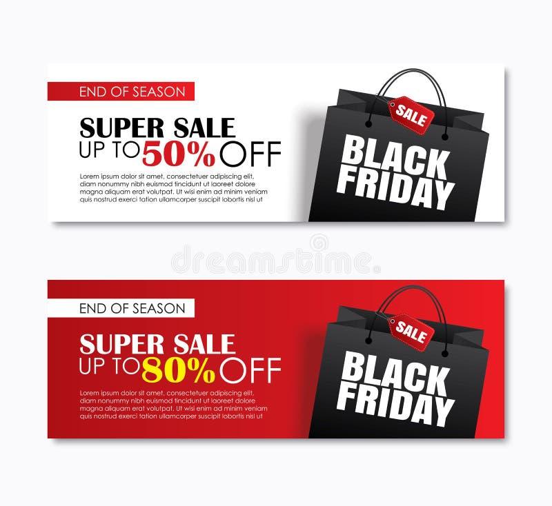 La copertura del sacchetto della spesa di vendita di venerdì e l'insegna nere di web progettano il templ illustrazione di stock